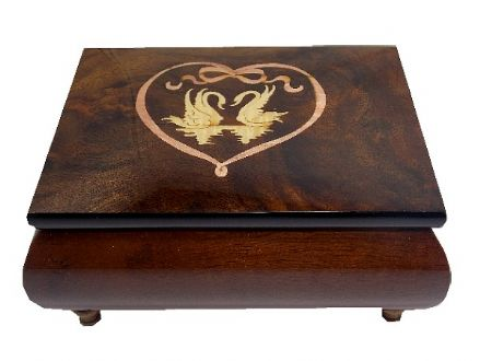 Swan and Heart Inlaid Musical Jewellery Box MAD415CLBRL